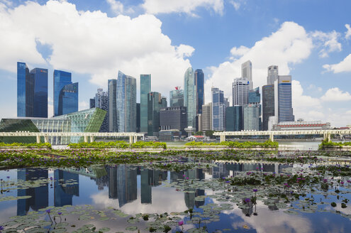 Republic of Singapor, Singapore, skyline of Marina Bay District with lily pond in the foreground - GWF004057