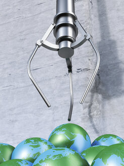 Grappling claw above globes, 3d rendering - AHUF000003