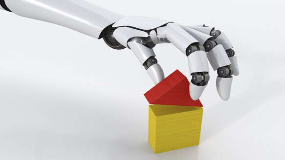 Robot building up house with building blocks, 3d rendering - AHUF000007