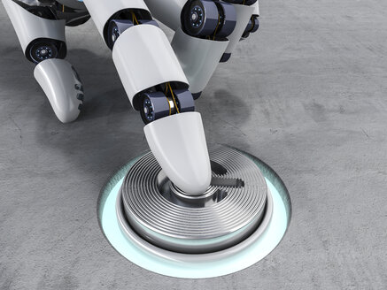 Robot pushing button, 3d rendering - AHUF000008
