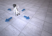 Manikin amidst 4 blue arrows, 3d illustration - ALF000528