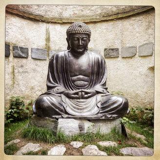 Buddhastatue, tibetische Schriftzeichen, Tafeln - EGB000102