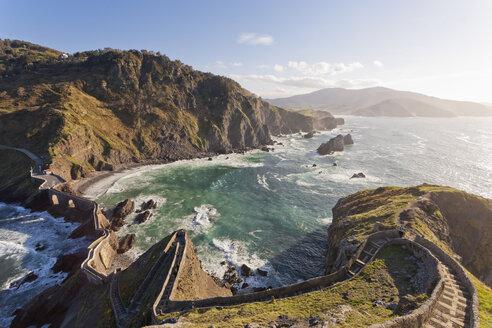 Spain, Biscay, Basque Country, Steps to the San Juan de Gaztelugatxe, chapel on a rocky island - MSF004587