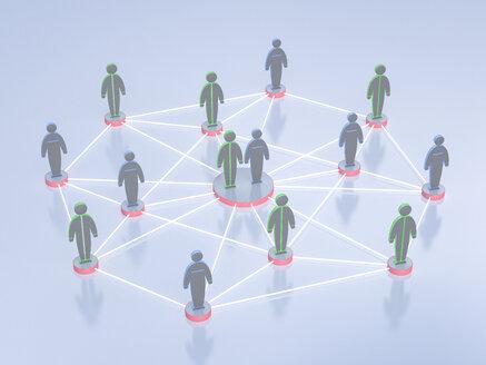 Network of humanlike figurines, 3d rendering - UWF000499