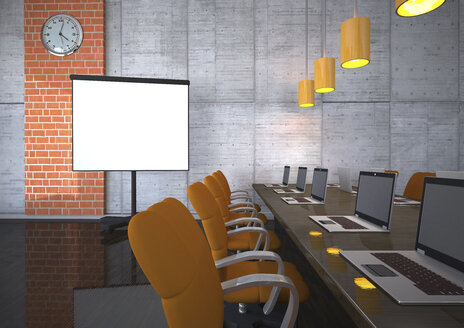 3d illustration, Training room with notebooks and flipchart - ALF000529