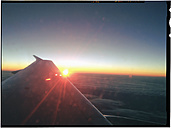 Rising sun over Portugal, aircraft wing, Portugal - MSF004596