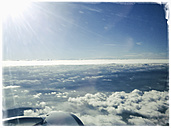 View out of an airplane window, clouds, Poland - MSF004606