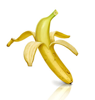 Peeled banana, white background - RAMF000058