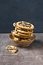 Wooden bowl with stack of flapjacks - MYF001005