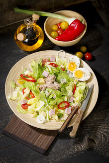 Plate of butterhead lettuce with boiled egg, spring onions, red bell pepper and tuna - MAEF010614
