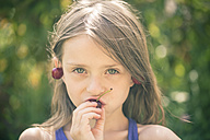 Portrait of girl eating cherries - SARF001833