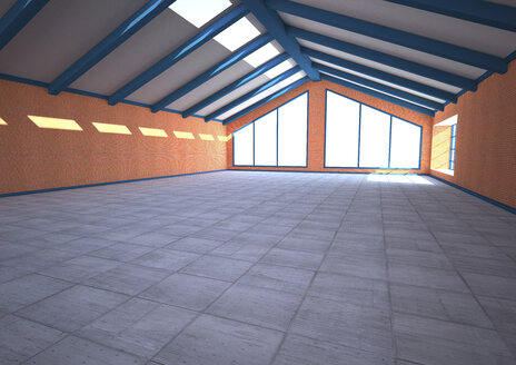 Empty industrial hall, 3D Rendering - ALF000536