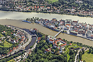 Germany, Passau, aerial view of the city of three rivers - KLEF000008