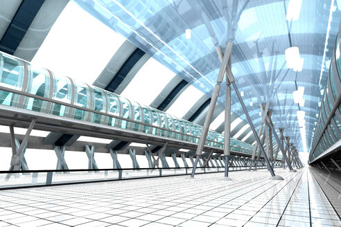 Indoor view of a futuristic train station, 3D Rendering - SPCF000047