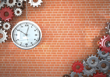 Cogwheels and clock in front of a brick wall, 3D Rendering - ALF000540