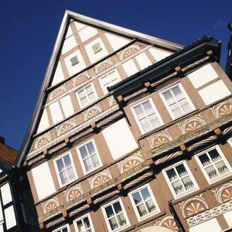 Germany, Lower Saxony, Stadthagen, Facade of a traditional house in Stadthagen. - HAWF000794