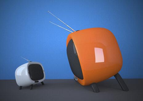 3D Illustration, small versus big, white and orange TV - ALF000542