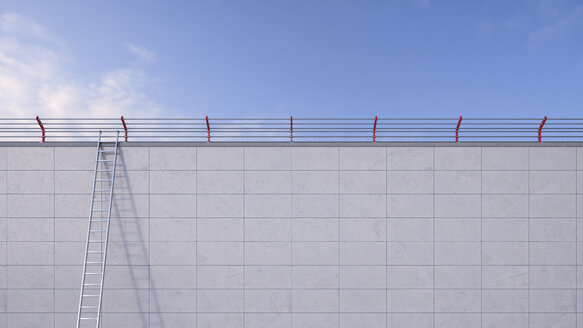 3D Rendering, ladder leaning against wall, barbed wire - UWF000519