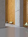 Empty seat rows in a lobby, 3D Rendering - UWF000524