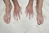 Woman's hands and feet in sand - STKF001283