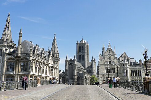 Belgium, Ghent, view from St. Michael's Bridge to St. Nicholas' Church - HLF000917