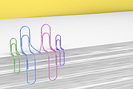 3D Rendering, paper clips holding hands, family - AHUF000012