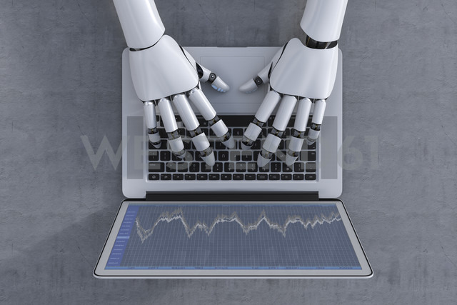 3D Rendering, Robot and laptop, stock exchange trading - AHUF000009