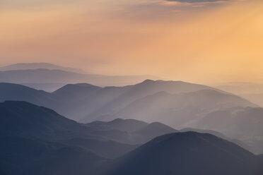 Austria, Lower Austria, Vienna Alps, View from Schneeberg to Puchberg am Schneeberg at sunrise - SIEF006602