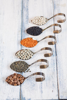 Row of spoons with different dried pulses - SBDF002040
