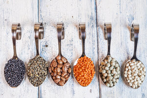 Row of spoons with different dried pulses - SBDF002054