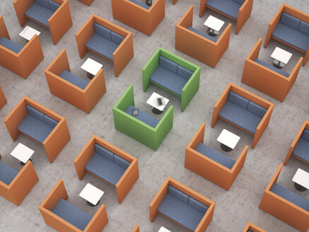 Workspaces with partition walls in office, 3d rendering - UWF000535