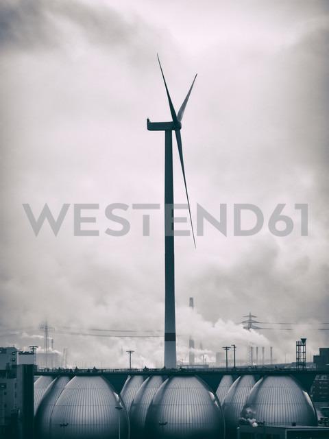 Germany, Hamburg, Industrial area and wind wheel - KRPF001424