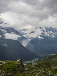 France, Mont Blanc, Glacier d'Argentiere and Chamonix town in a stormy day - LOMF000003