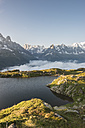 France, Mont Blanc, Lake Cheserys, mountain and lake at sunrise - LOMF000010