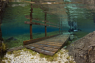Austria, Styria, Tragoess, lake Gruener See, diver and flooded bridge - YRF000085