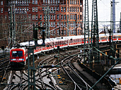 Germany, Hamburg, regional train, railway tracks - KRP001436