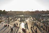 Morocco, Marrakesh, view to lighted Jemaa el-Fnaa bazaar in the evening - JUNF000322