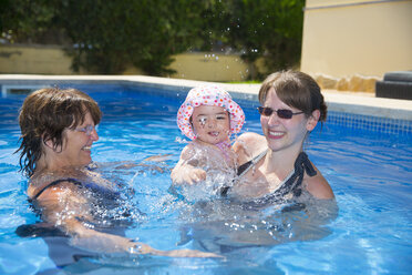 Spain, Majorca, baby girl with mother and granny in the pool - ROMF000066