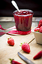 Glass of homemade strawberry jam - LVF003548