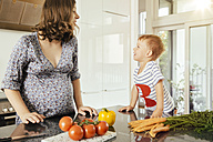 Pregnant woman with her little son in the kitchen - MFF001762