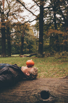 Young man lying on dead wood  with a Hokkaido pumpkin on his face in an autumnal park - CHAF000199
