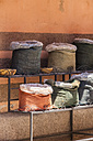 Morocco, Marrakesh, bags on a shelf - JUNF000337