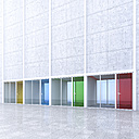 3D Rendring, modern architecture, offices, colorful glass doors, courtyard - UWF000547