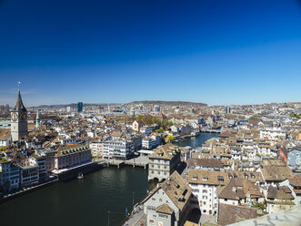 Switzerland, Zurich, Old town and Limmat river, Townhall, St. Peter's church, Observatory and Prime Tower - KRPF001521