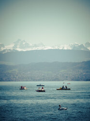 Switzerland, Zurich, Lake Zurich with boats and swan, Alps in the background - KRPF001532