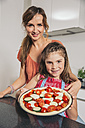 Mother and daughter presenting homemade pizza - MFF001737