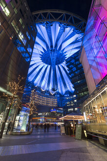 Germany, Berlin, view to lighted Sony Center at night - SJ000151