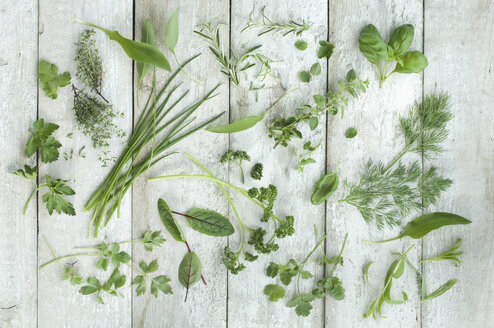 Different fresh herbs on white wood - ASF005622