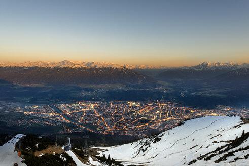 Austria, Tyrol, Innsbruck, cityscape at sunset - MKFF000225