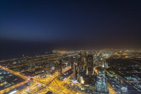 United Arab Emirates, Dubai, View over the Sheikh Zayed Road at night - NKF000268